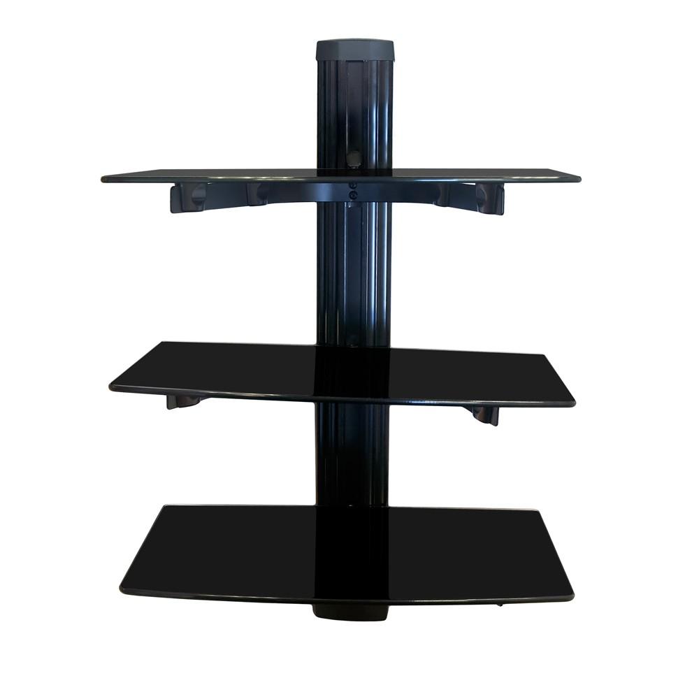 hifi glas regal wandhalterung glasregal wandregal rack f r dvd ps4 bluray player ebay. Black Bedroom Furniture Sets. Home Design Ideas