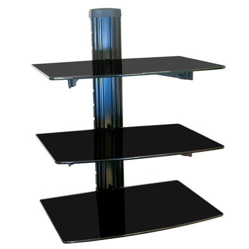 Nemaxx DV03 Floating Glass Wall Mount Bracket for DVD Player Sky with 3 Shelves