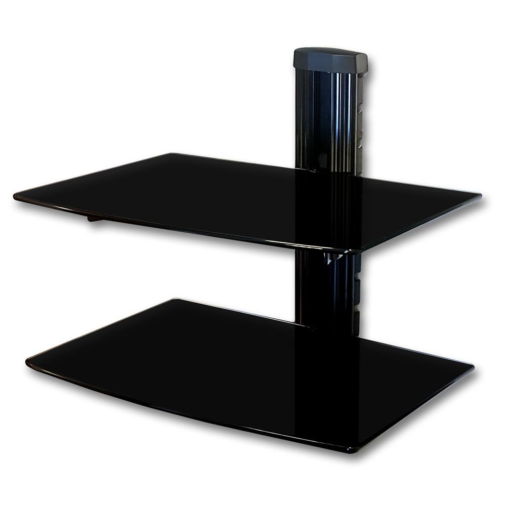 universal media glass bracket wall mount console hifi rack dvd bluray player vcr ebay. Black Bedroom Furniture Sets. Home Design Ideas