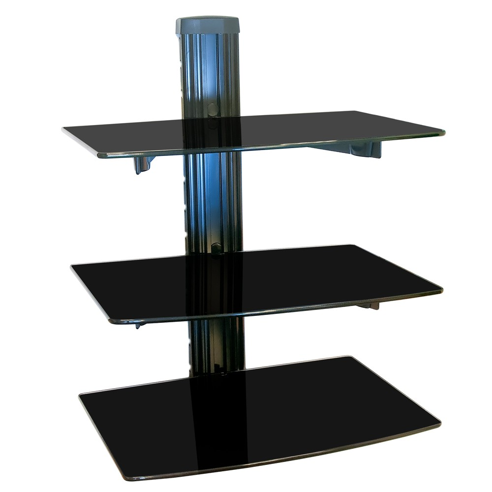 nemaxx dv03 dvd floating glass wall mount bracket with 3. Black Bedroom Furniture Sets. Home Design Ideas