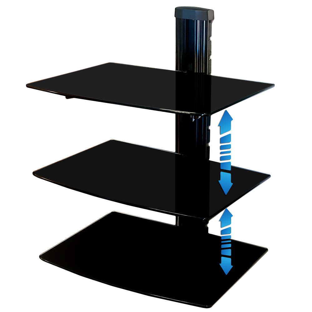 Universal Media Glass Bracket Wall Mount Console Hifi Rack
