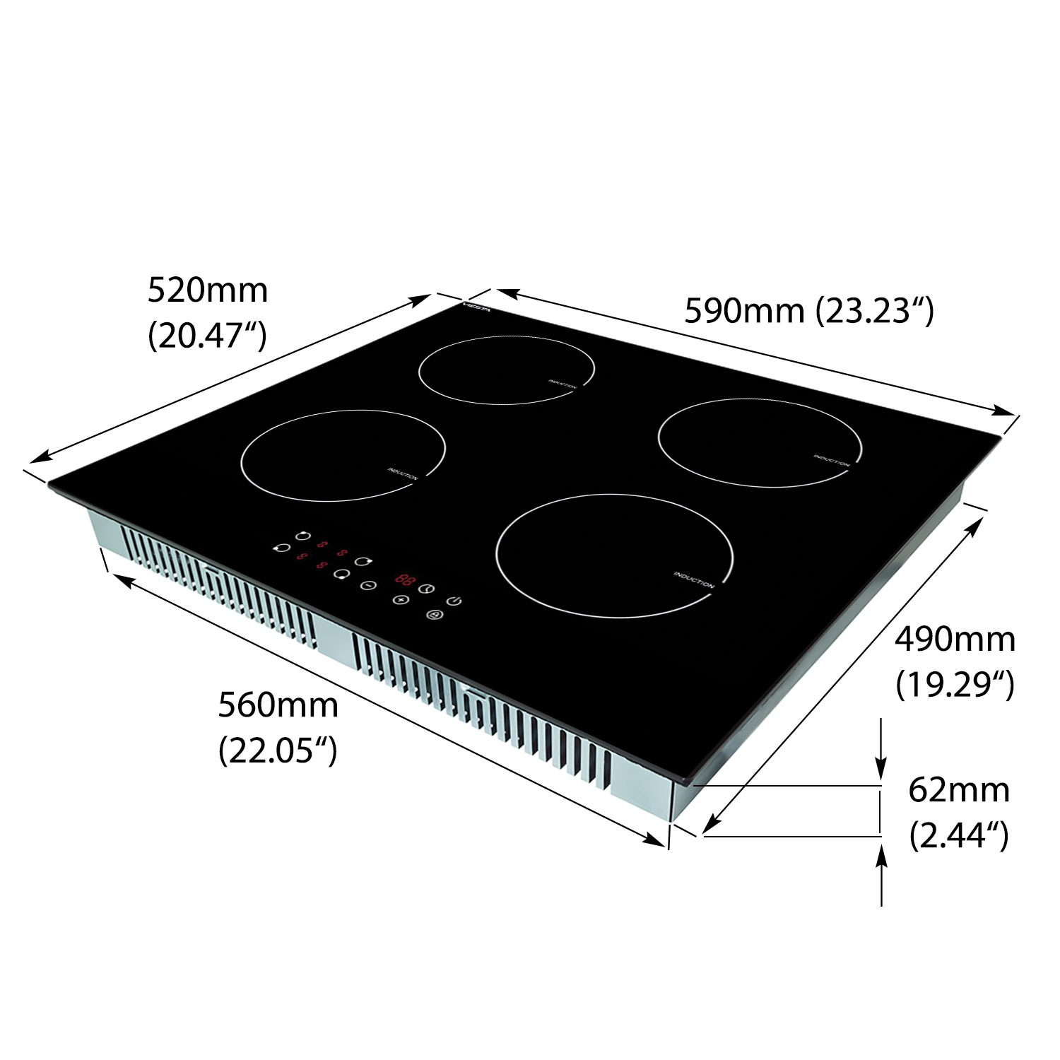 viesta 4 foyers plaque de cuisson induction contr le tactile cuisini re ebay. Black Bedroom Furniture Sets. Home Design Ideas