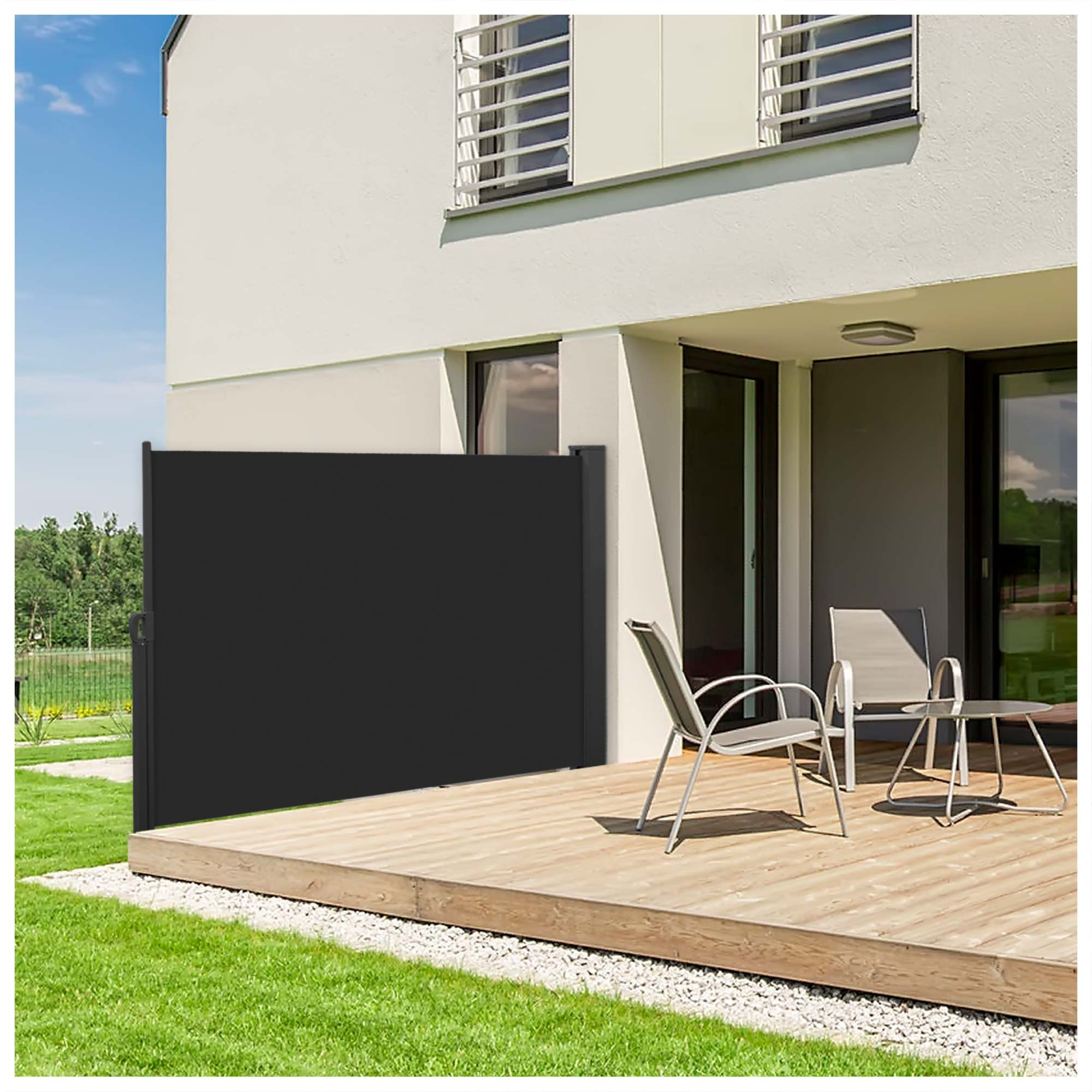 nemaxx store lat ral abri soleil balcon terrasse r tractable noir de 180x300cm ebay. Black Bedroom Furniture Sets. Home Design Ideas