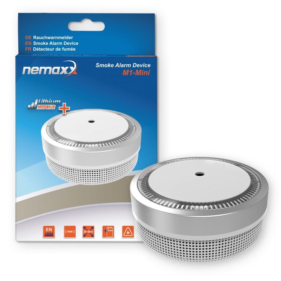5x nemaxx mini designer rauchmelder elegance mit 5 j lithium batterie silber 7630043606117. Black Bedroom Furniture Sets. Home Design Ideas