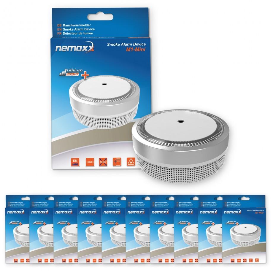 10x nemaxx mini designer rauchmelder elegance mit 5 j lithium batterie silber 7630043606162. Black Bedroom Furniture Sets. Home Design Ideas
