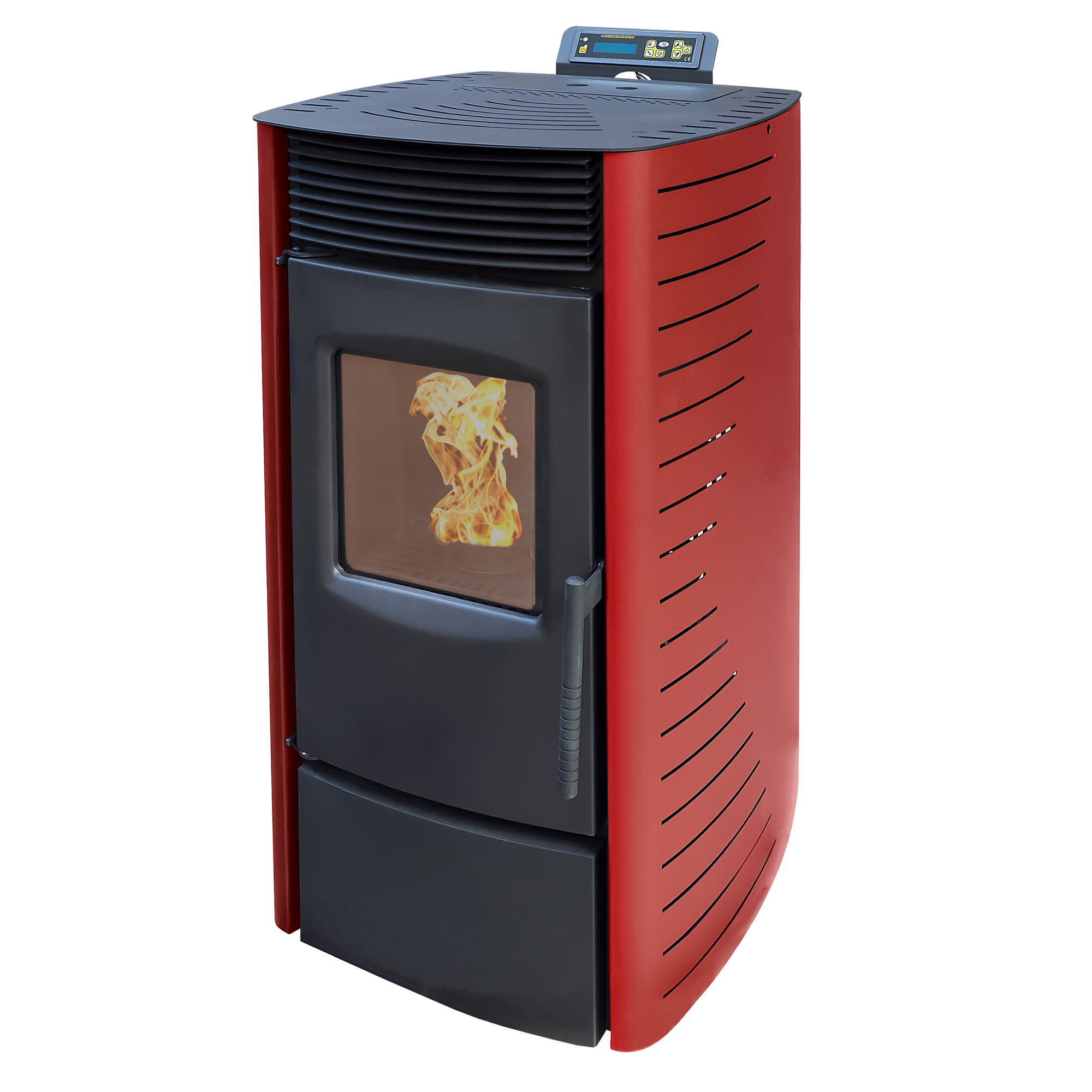 nemaxx pelletofen 9kw mit programmierung eco modus kaminofen pelletheizung rot ebay. Black Bedroom Furniture Sets. Home Design Ideas