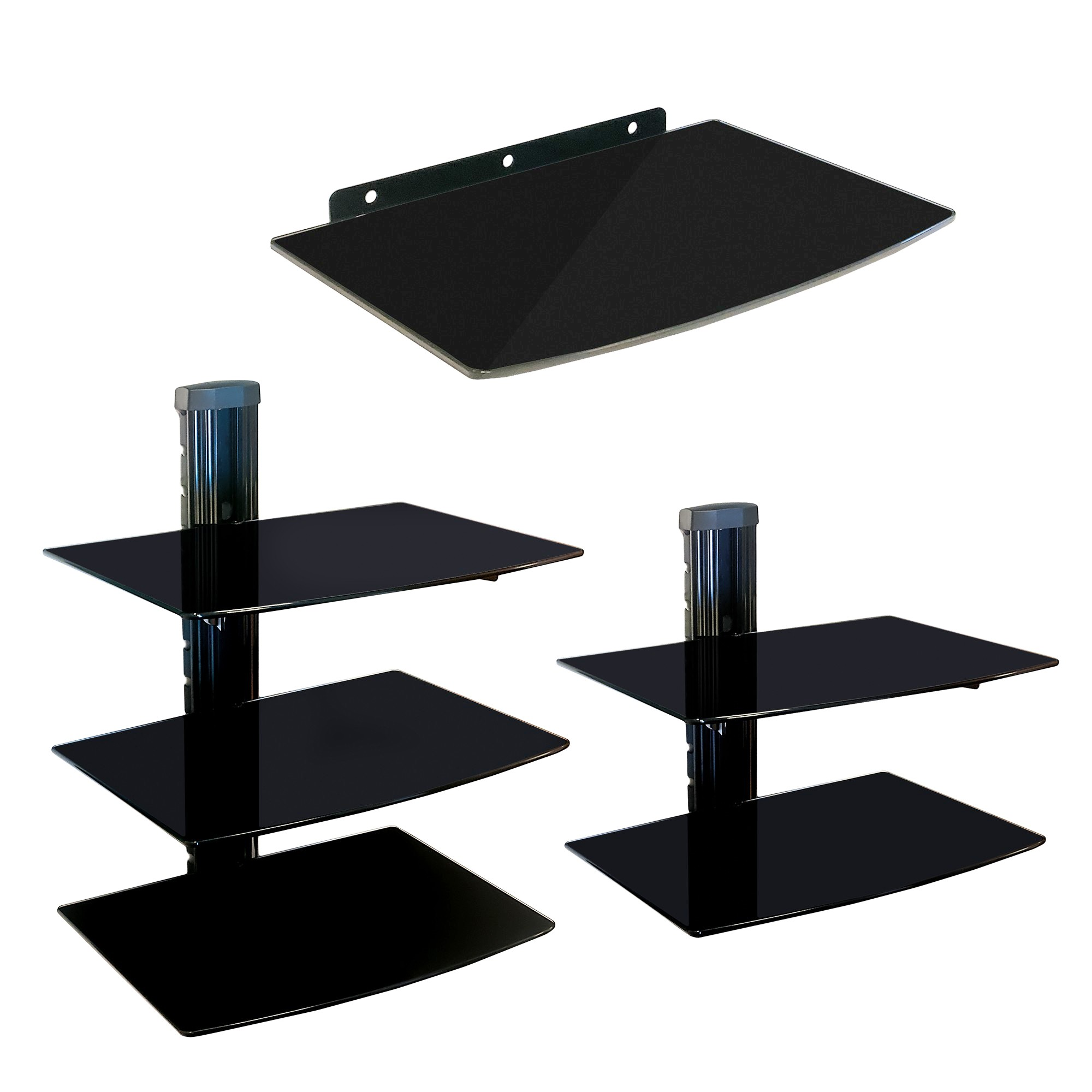 nemaxx glas dvd tv wandregal wandhalterung hifi media regal receiver konsole ebay. Black Bedroom Furniture Sets. Home Design Ideas